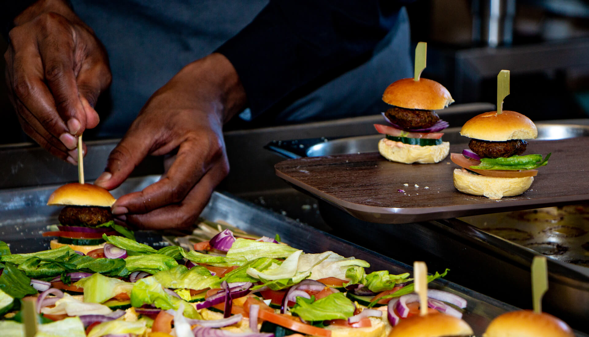 Food and drink photographer birmingham uk, food preparation, mini burgers being prepared