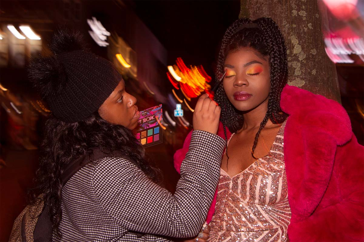 Birmingham Fashion photographer, street fashion photoshoot in Birmingham city centre. Outdoor photoshoot backstage