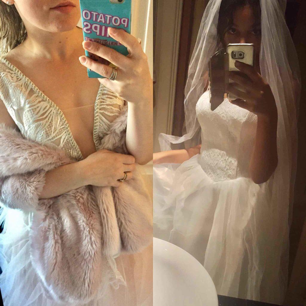 Mirror selfies, two brides to be taking selfies - Wedding photography blog