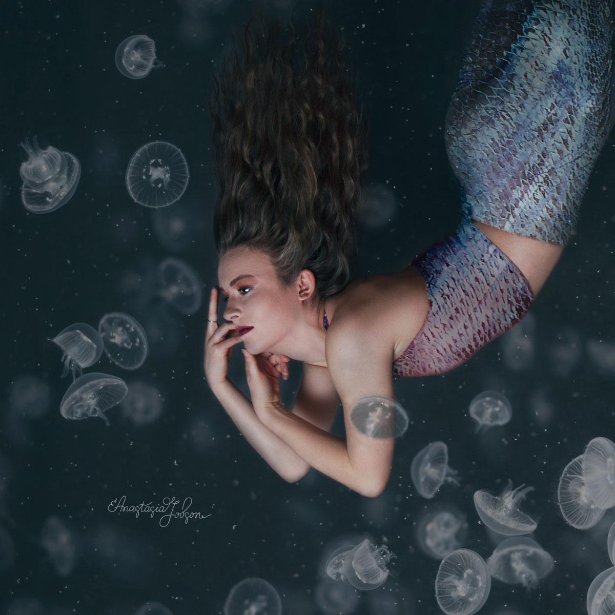 Underwater portrait, mermaid surrounded by jellyfish. Fine art photography, fine art portraits, fine art photo prints.