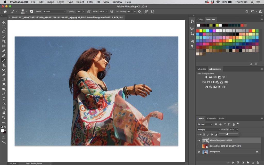 Editing a photo in Adobe Photoshop