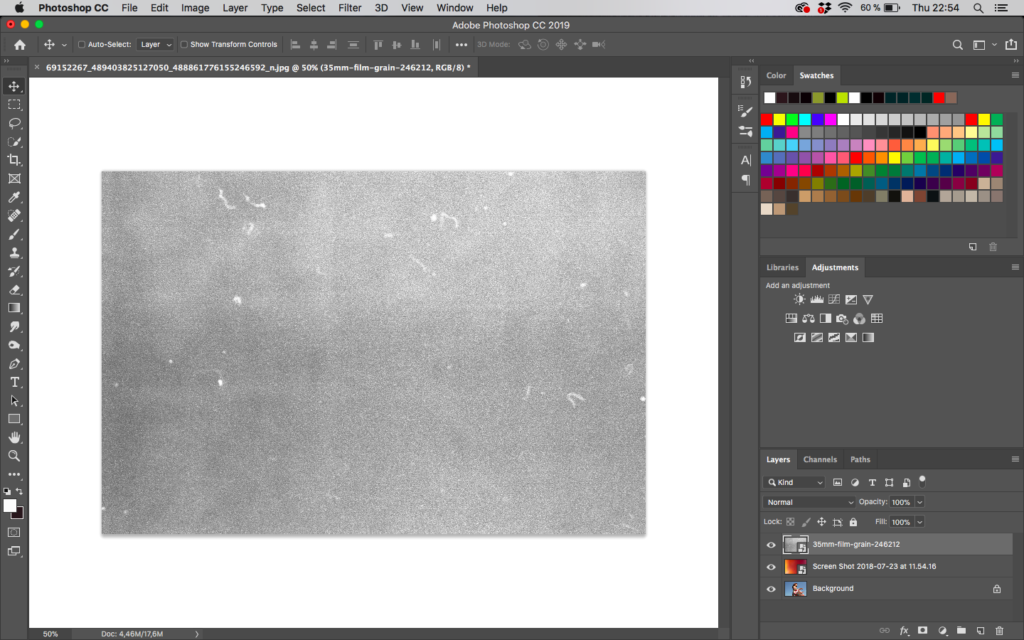 Adding film grain to an image in Adobe Photoshop