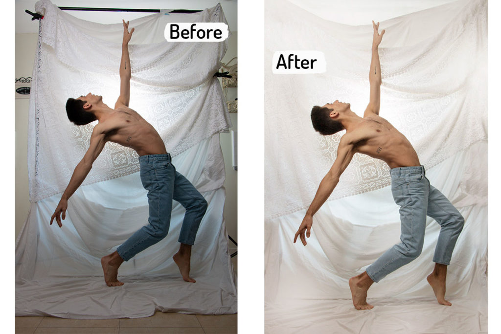 Before and after from dance photoshoot with male ballet dancer at home photography studio - How to take dance photos in small space - Anastasia Jobson