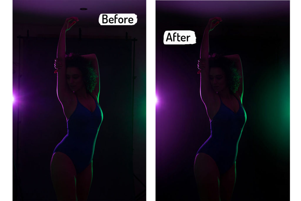 Before and After from a dance photoshoot at home photo studio - Anastasia Jobson Photography