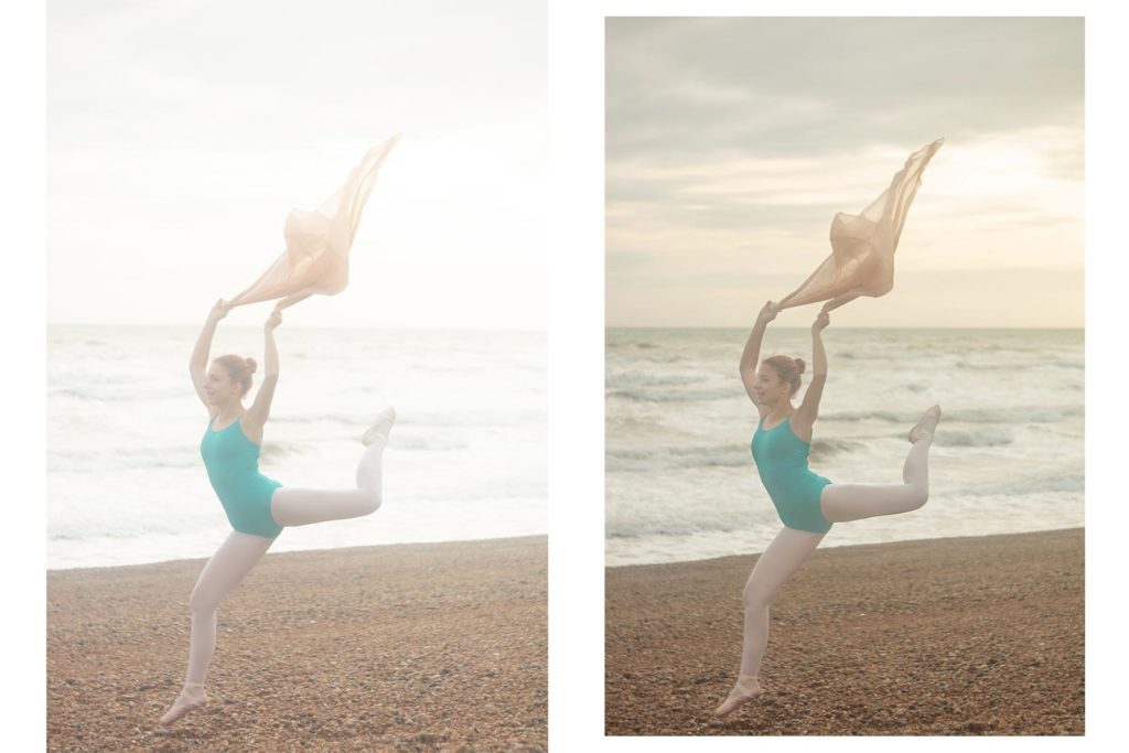 Before and after of a dance image on the beach. Photoshoot with ballerina in turquoise leotard and nude colour scarf as a prop