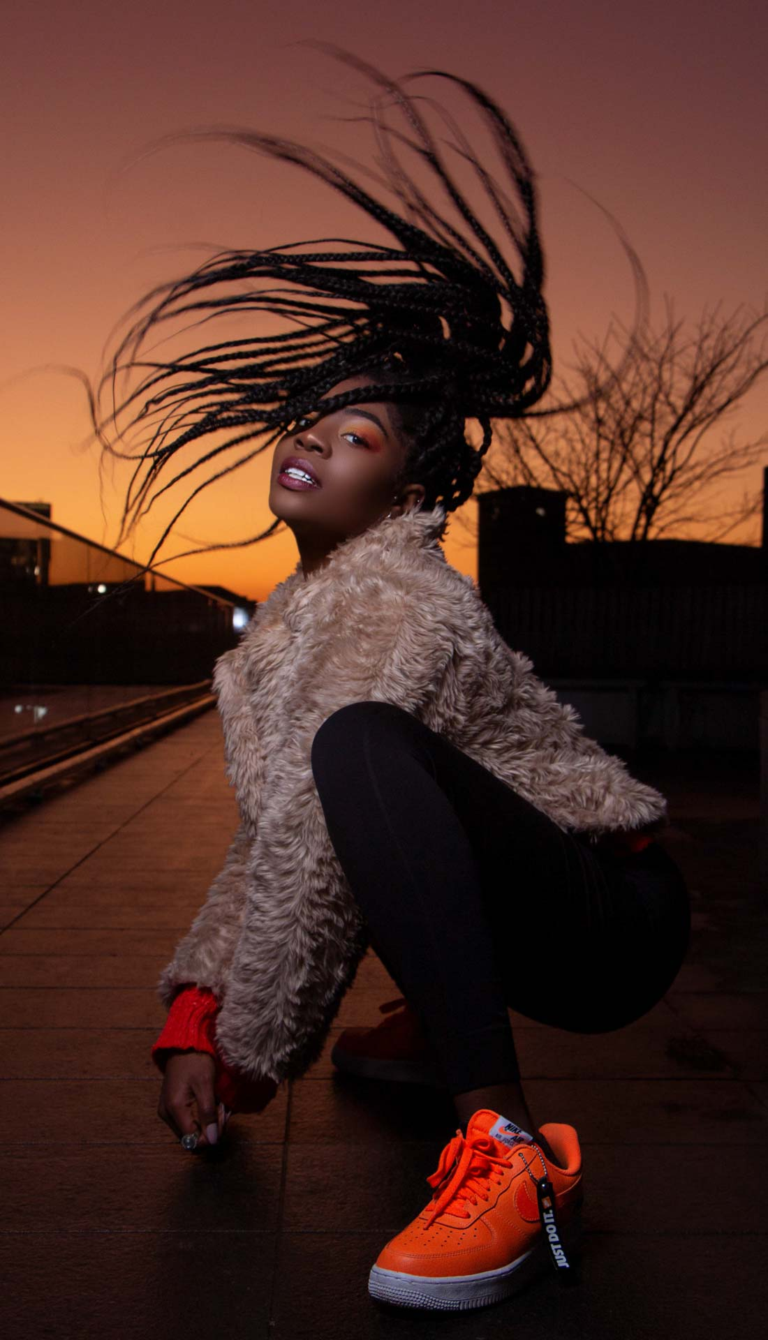 Combination of dance and fashion at night Birmingham by a Midlands street dancer