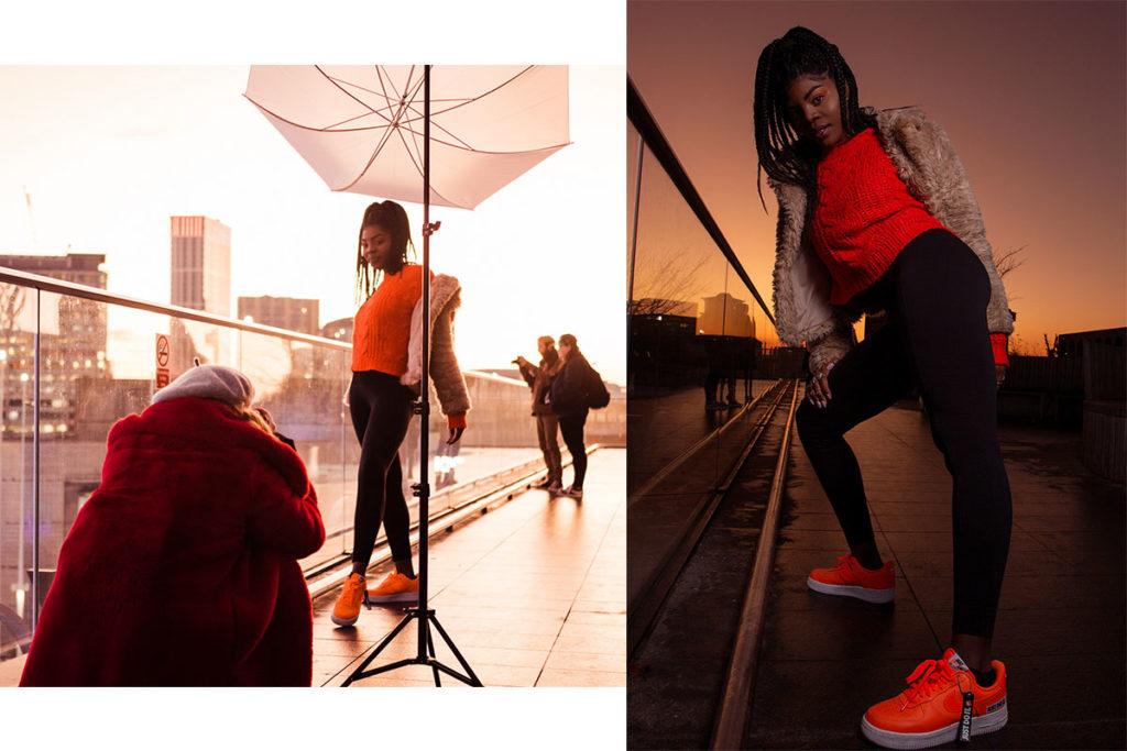 backstage photoshoot and the final image. Birmingham fashion photoshoot during sunset