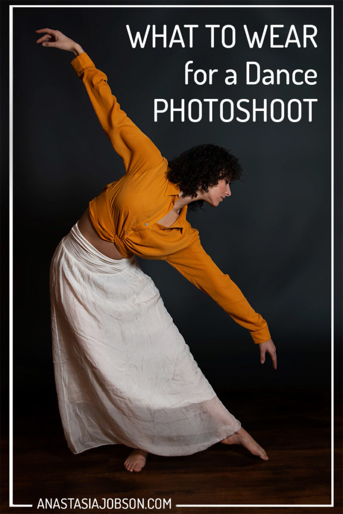 A contemporary dancer in a yellow top and white skirt is executing movement. A white text in top right corner says What to wear for a dance photoshoot