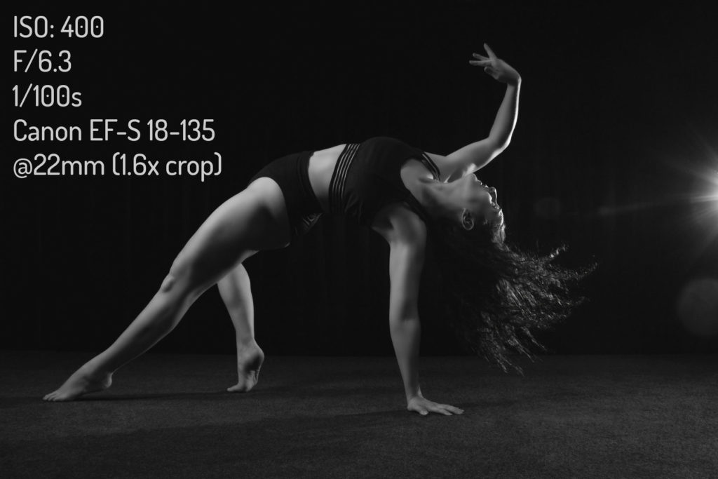 Black and white image of contemporary dancer Jessica with camera and settings information