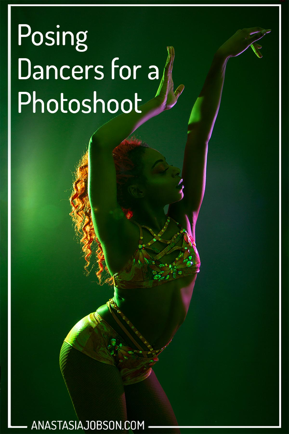 A guide to dance photography poses, how to pose dancers for a photoshoot; colourful lights, dancer is striking a pose