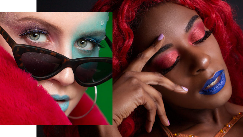 A collage of two close up beauty photos. On the left a white woman wearing leopard sunglasses and pink her with her lips painted light blue. On the right a black woman with red hair, red eyeshadows and dark blue lips