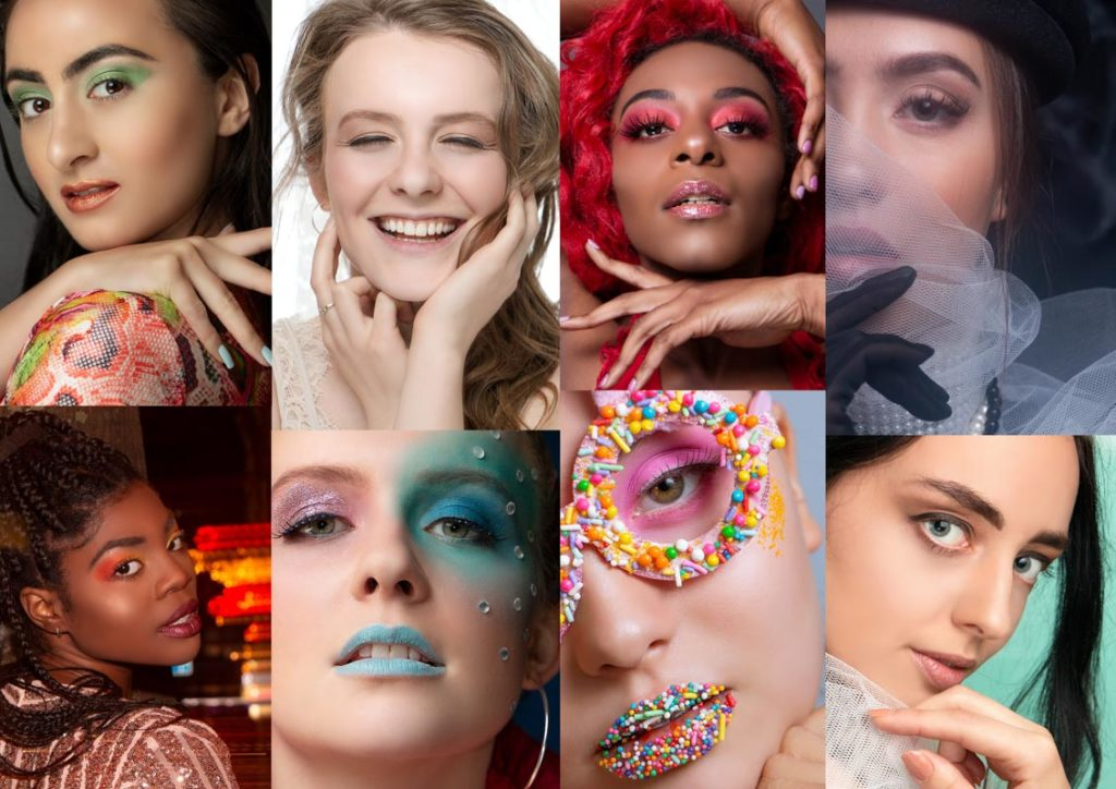 A collage of eight images of closeup beauty photos of women with creative makeup on