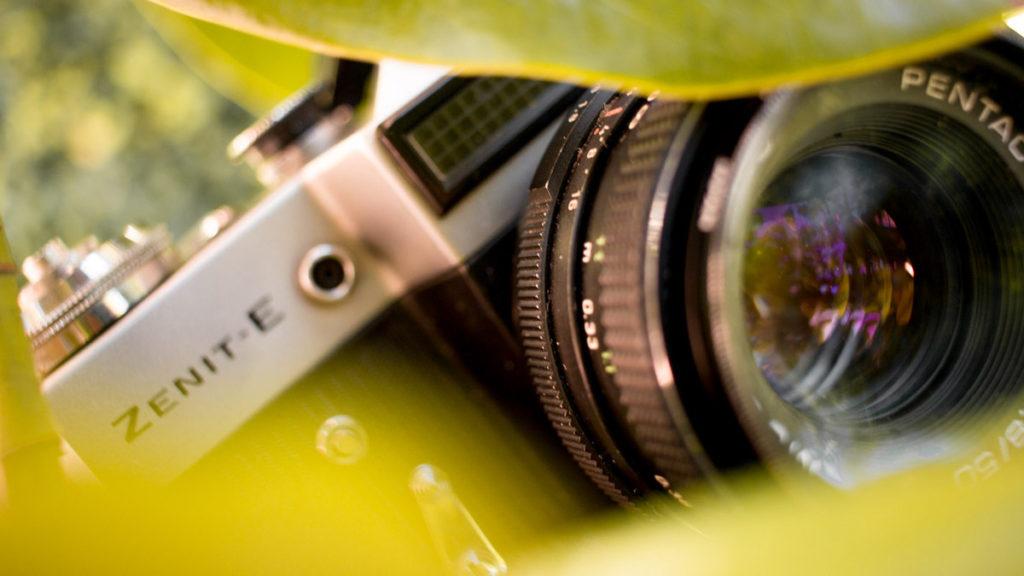 Zenit-E film camera close up