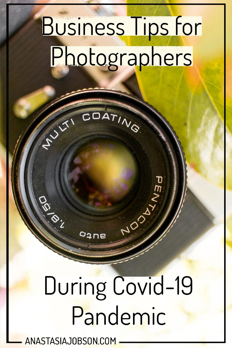 A close up photo of a vintage film camera in the leaves, text says Business tips for Photographers