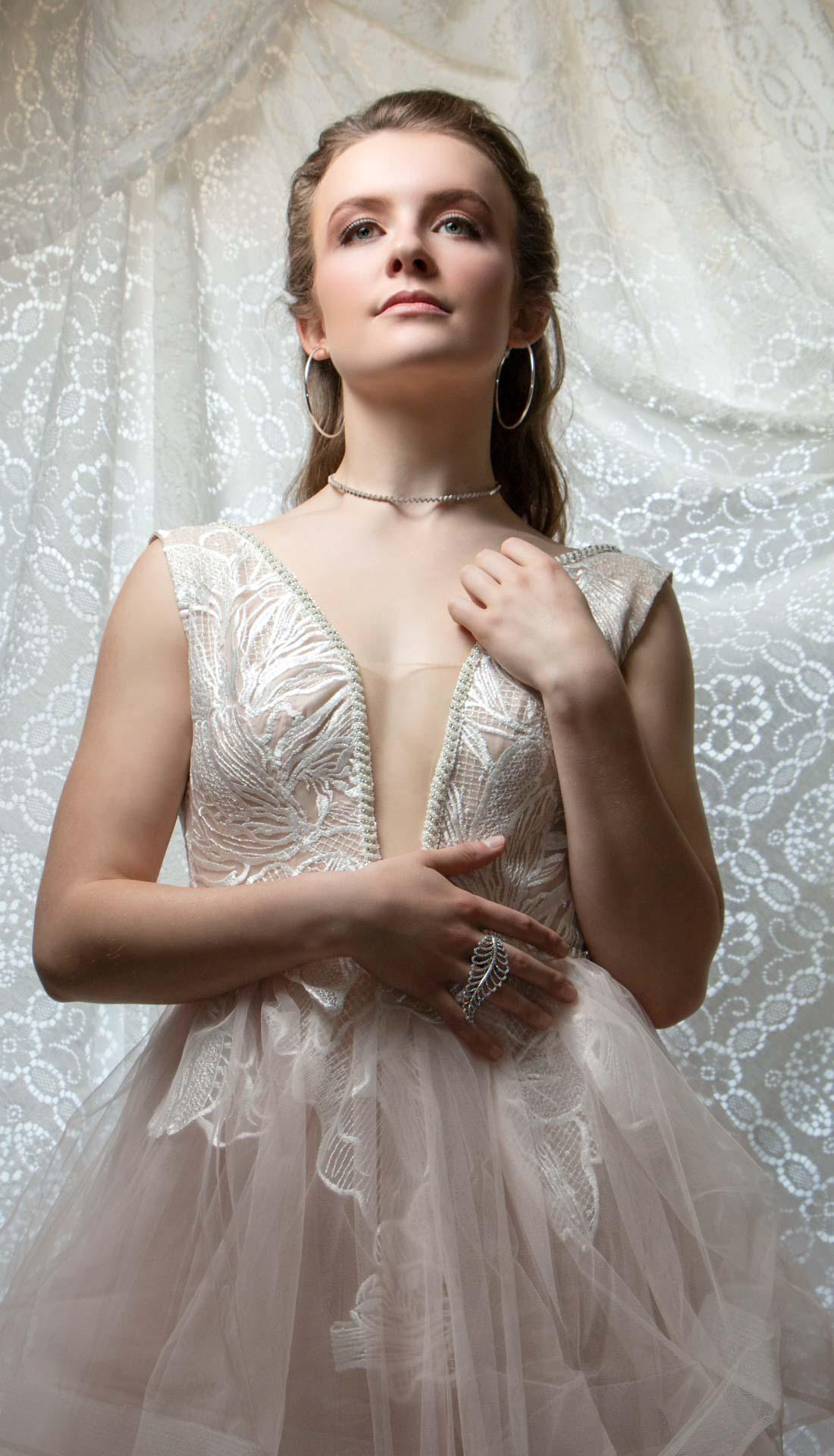 Bridal fashion portrait, bride to be fashion photography, studio fashion photoshoot Birmingham and West Midlands