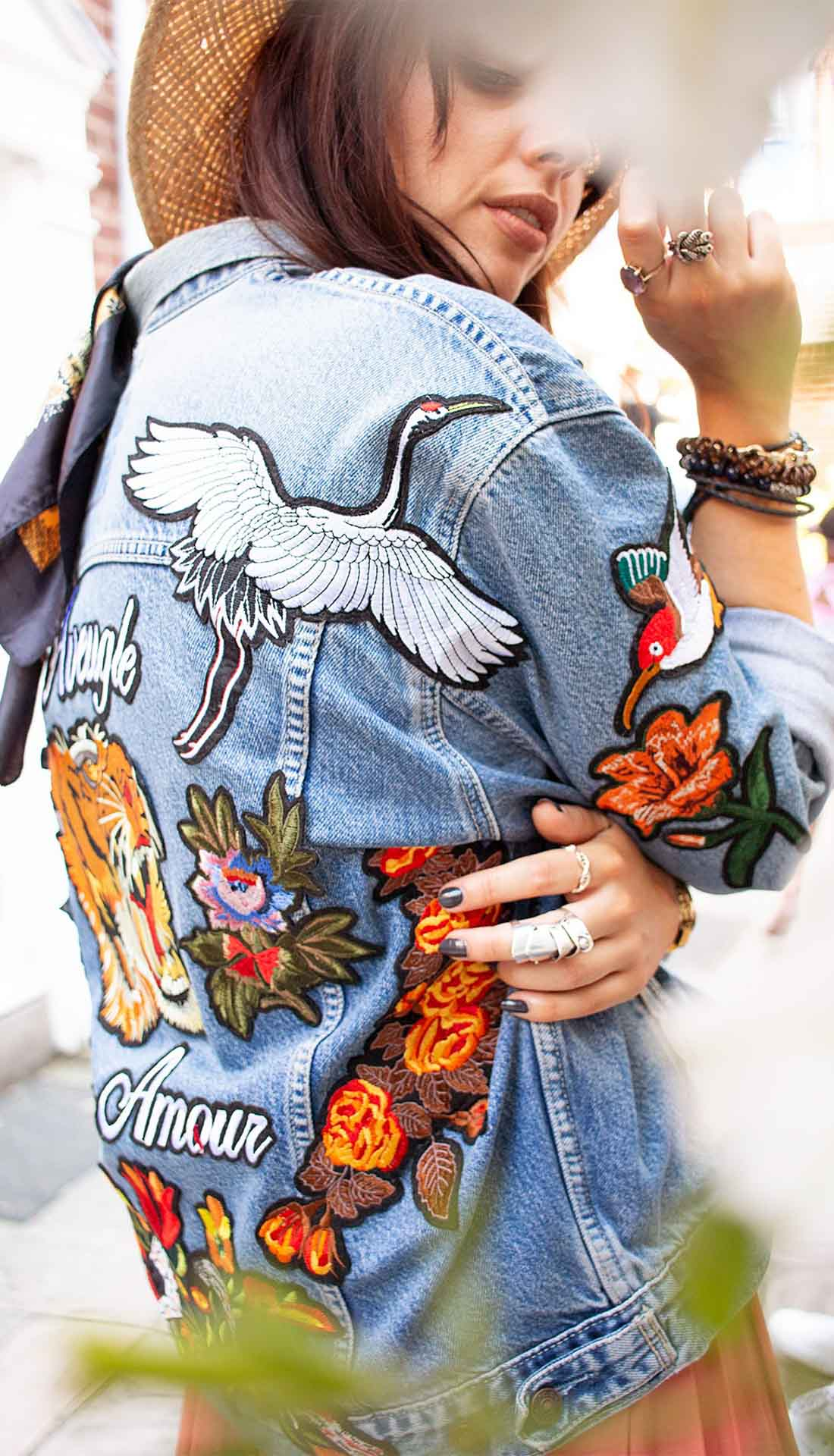 Denim fashion photoshoot, denim jacket with patches, fashion photographer Birmingham
