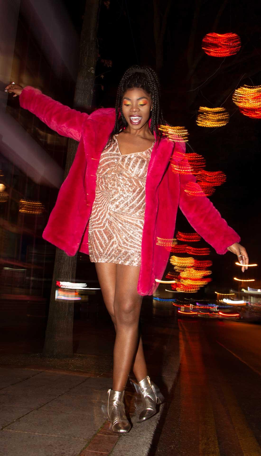 Street fashion photoshoot, evening wear women's fashion, fashion photography Birmingham UK, commercial photographer West Midlands