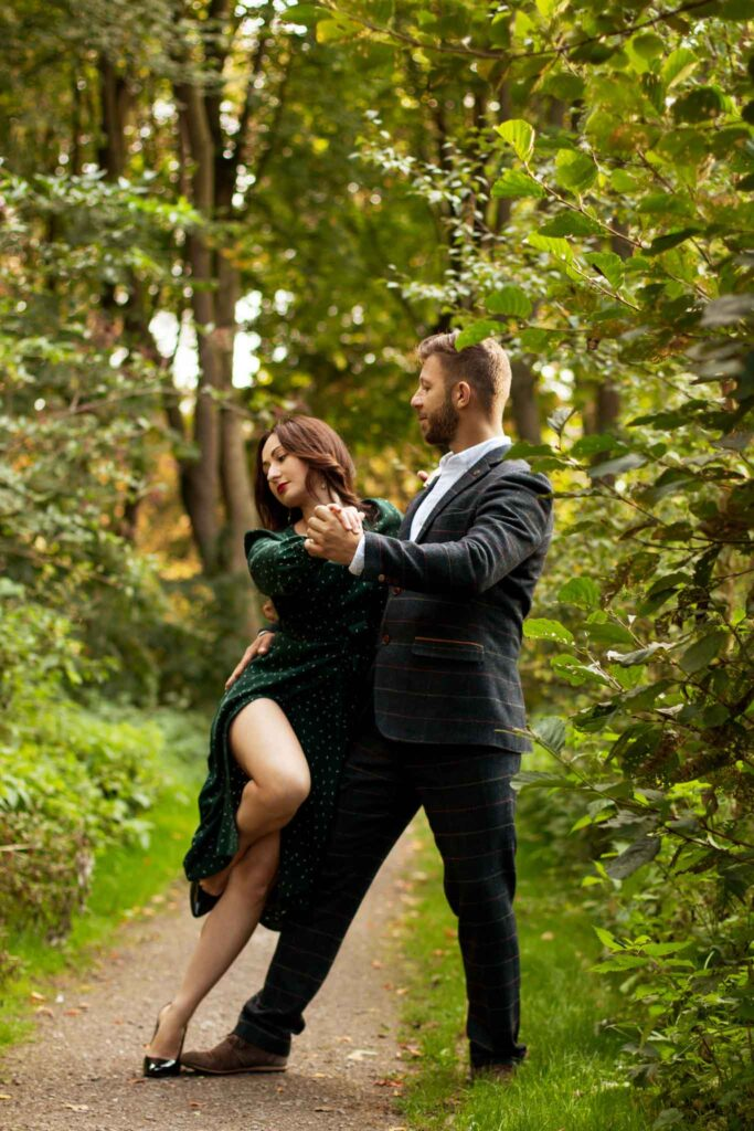Engagement dance photoshoot in the forest, dance couple, couple dance photoshoot in Birmingham UK