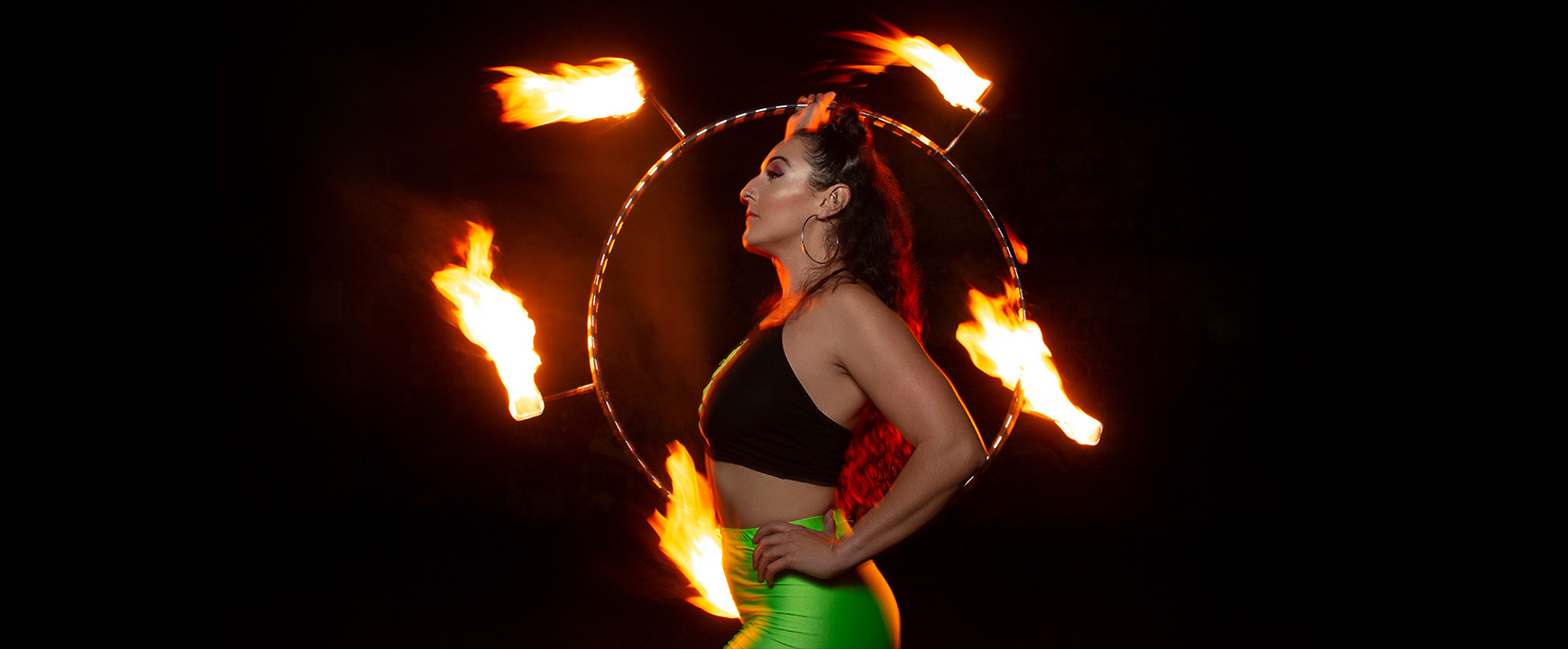Portrait of a fire performer. Dance and performance photographer Birmingham