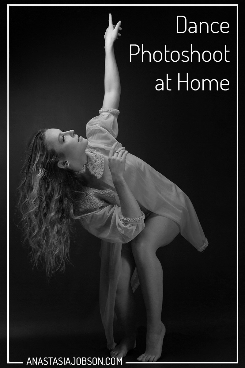 Female dancer dancing in the dark, dance photography blog, dance photoshoot at home